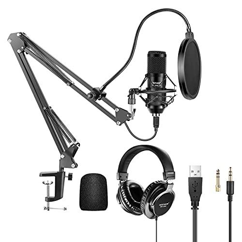 Neewer Microfono a USB 192KHz/24Bit Plug & Play Cardioide a Condensatore con Cuffie Monitor, Antivento in Schiuma, Braccio a Forbici & Supporto Anti-vibrazione per Karaoke Registrazioni di Giochi ecc