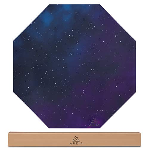Office Chair Mat for Hard Floor- Octagon 47.2'x 47.2' Floor Protecting and Noise Cancelling for Gaming Computer Chairs with Anti Slip Rubber, Black with Galaxy Design