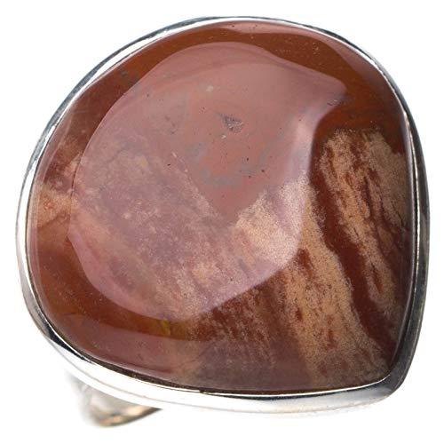 StarGems Natural Piedra de sangre Anillo de plata de ley 925 único hecho a mano 14 5/8 D8890