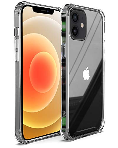 Arae Compatible with iPhone 12 Case and iPhone 12 Pro Case Hard PC + Soft TPU Frame [Shock-Absorbing] Phone Case for iPhone 12/12 Pro 6.1 inch, Crystal Clear