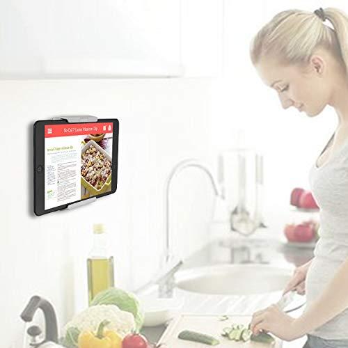 TFY Tablet-Wandhalterung, Küchen-Wandhalterung für Tablets und Smartphones, passt in Küche, Bad, Schlafzimmer, Lesezimmer und mehr, Weiß