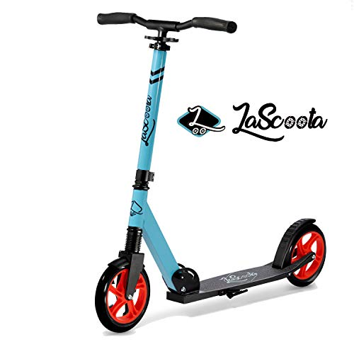 Lascoota Scooters for Kids 8 Years and up - Quick-Release Folding System - Dual Suspension System + Scooter Shoulder Strap 7.9' Big Wheels Great Scooters for Adults and Teens (Fusion, Kids/Adult)