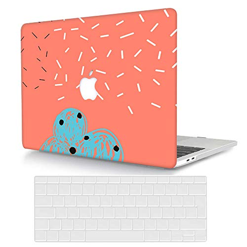 Bandless AJYX Hülle für MacBook Pro 13 2020/2019/2018/2017/2016 Modell A2338 M1/A22251/A2289 A2159/A1989/A1706/A1708,Plastik Hartschale Schutzhülle Cover mit Tastaturschutz - Einfaches Muster