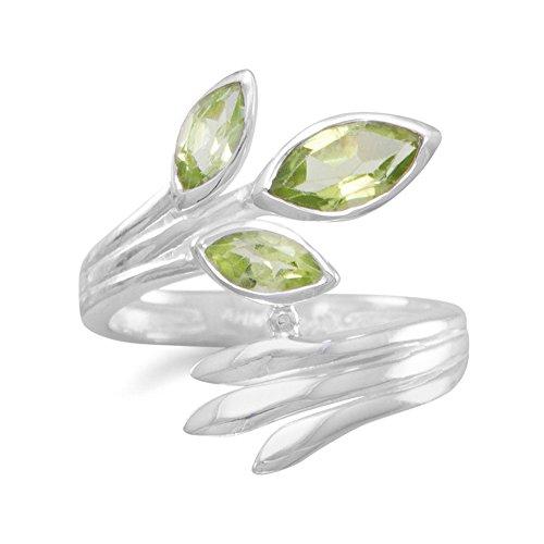 Sterling Silber Fan Wrap Ring Marquiseschliff Drei Peridots Steine 3mm x 7mm 4mm x 8mm, Größe N 1/2