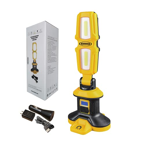 LED Up to 3000 Lumens Work Light, Rotating Hand Held, 20 Watt Rechargeable, 4.4 Ah Battery, Cordless Portable, Water Resistant, Strong Magnetic Base Job Site Lighting by KESWER, Yellow and Black