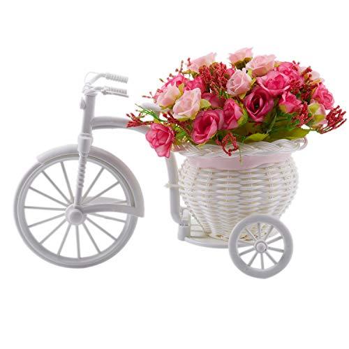 REFURBISHHOUSE Arredamento per La Casa Idilliaco Simulazione Flower And Flower Car Suit, Cesto di Fiori in Maglia per Bicicletta, Fiore Finto Diamante Rosa Rose Rosa