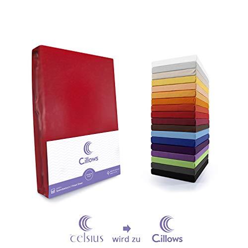 Celsius Jersey Spannbettlaken Spannbetttuch 90x200-100x220 cm 100% Baumwolle Bettlaken Farbe: Rot 160 g/m2 Qualität