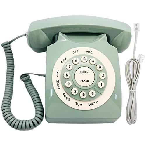 Bilinli Retro Landline Phone European Pastoral Style Desktop Home Telephone(green)