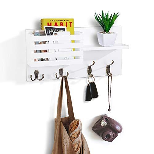 AHDECOR Organizador de madera para colgar en la pared,para correo,llavero,ganchos para colgar correas,perchero,almacenamiento de cartas y periódicos,estante flotante para decoración