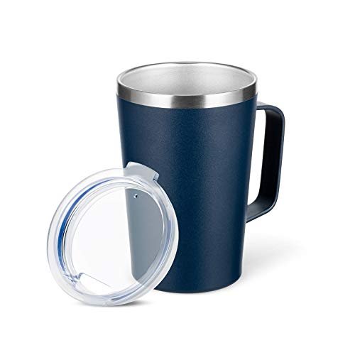 TUMZAK 16oz Stainless Steel Coffee Mug with Lid, Double Wall Trave Mug with Handle, Vacuum Insulated Coffee Mug Cup for Coffee, Powder Coated Travel Coffee Mug for Hot & Cold Drinks (Navy, 1 Pack)