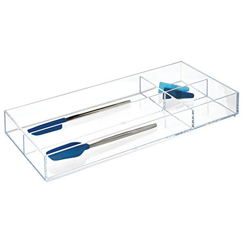 iDesign Clarity BPA-Free Plastic Stackable Divided Drawer Organizer Tray - 8' x 16' x 2', Clear