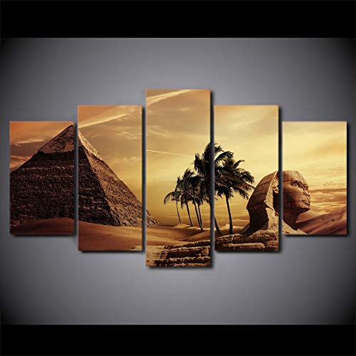 5 Canvas paintings Canvas Paintings Poster Decor Room Wall Pyramids Egypt Androsphinx Sunset Scenery Pictures Art HD Prints Frameless