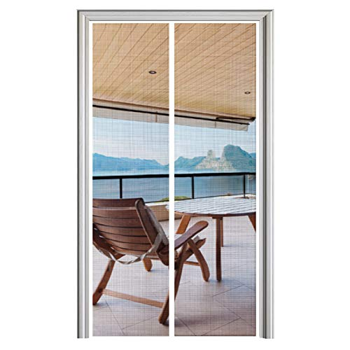 YUFER Magnet Screen Door 32 x 80, Magnetic Mesh Screen Door with Heavy Duty Fits Door Size up to 32'x80' Max White…