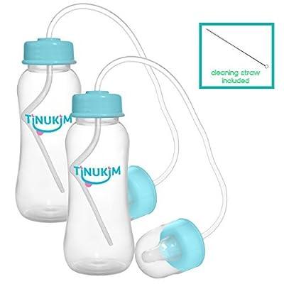Tinukim iFeed 9 Ounce Self Feeding Baby Bottle with Tube - Handless Anti-Colic Nursing System, Blue - 2-Pack