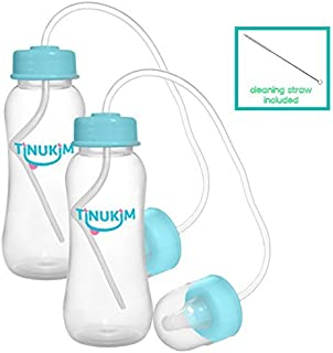 Tinukim Hands Free Baby Bottle - Anti-Colic Nursing System, 9 Ounce (Set of 2 - Blue)