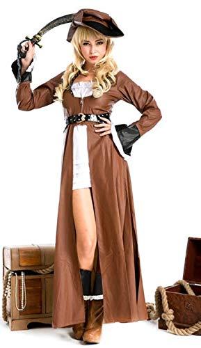 Femmes 4 pièces Sexy de Pirate fête Costume déguisement - Marron, 8-10