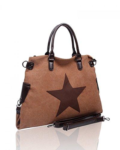 LeahWard® Groß Schule Taschen Damen Segeltuch Schultertasche Handtasche A4 160163 160164 (FLAX Schultertasche)