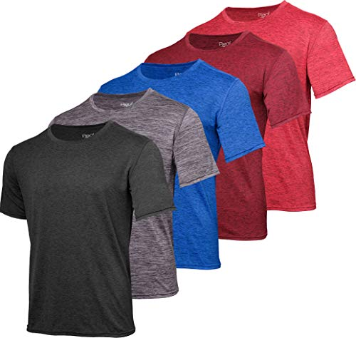 Men's Quick Dry Fit Dri-Fit Short Sleeve Active Wear Training Athletic Essentials Crew T-Shirt Fitness Gym Wicking Tee Workout Casual Sports Running Undershirt Top - 5 Pack,-Set 10,L