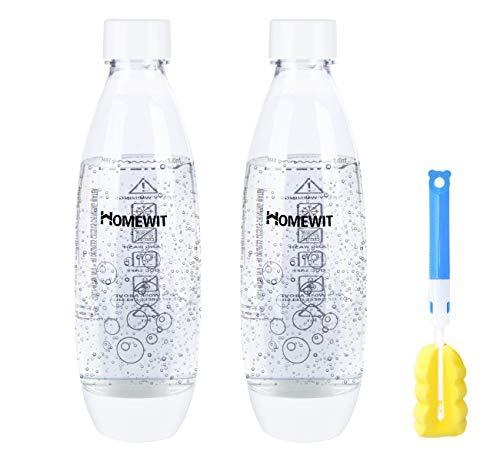 Homewit PET Sprudlerflasche 2-teilig Set, 2 x 1L Wasserflasche Ersatzflasche für Soda Stream, Trinkflasche für zu Hause und unterwegs, Ideale für Sport, Laufen, Fahrrad, Yoga, Wandern, Camping usw.