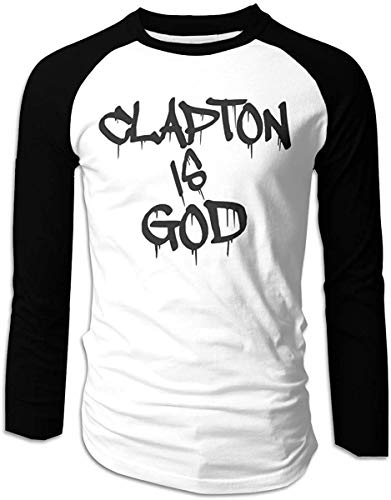 Men's Clapton is God Classic Long Sleeve Baseball T-Shirts Top,Black,XX-Large