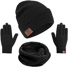 mysuntown Hat Scarf and Glove Set, Women Winter Hats 3-Piece, Beanie Neck Warmer and Touchscreen Gloves for Men (Black)