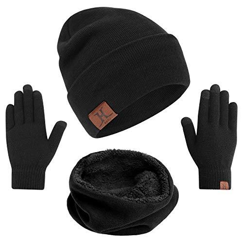 mysuntown Wintermütze Warm Beanie Strickmütze 3 in1Knit Mütze und Touchscreen Handschuhe mit Dick Schal Set für Damen und Herren (Schwarz)