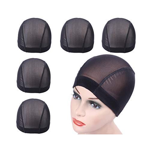 5 pcs Capuchon en maille noire pour la fabrication de perruques filets à cheveux extensibles avec une large bande élastique (L)