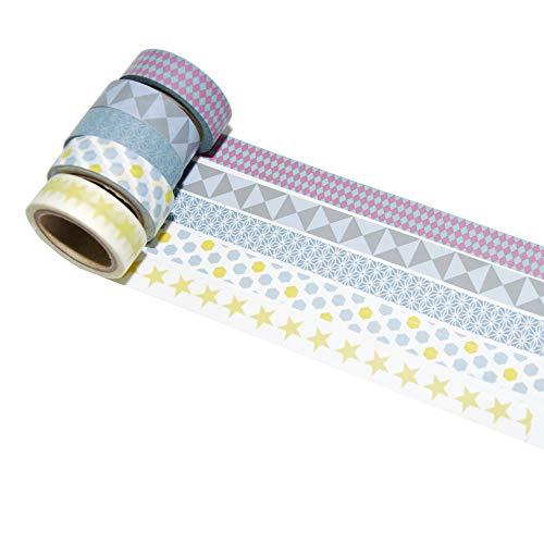 k-limit 5 Set Washi Tape Rollos de Washi Tape, Cinta Decorativa Autoadhesivo, Cinta...