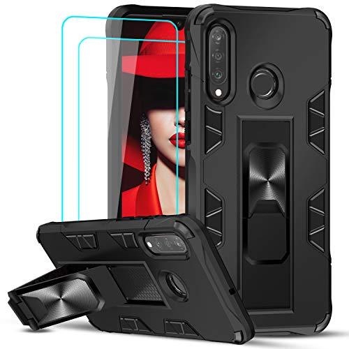 LeYi Cover Huawei P30 Lite/P30 Lite New Edition con Vetro Temperato [2 Pack],Custodia Armour Metallo Magnetica Supporto Silicone Slim TPU Bumper Full Body Antiurto Case per Telefono P30 Lite Nero