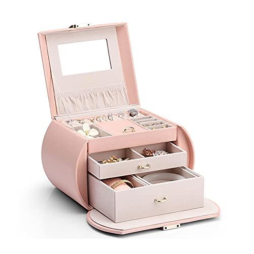 Caja Joyero Caja de Joyas Organizador de joyería rosa Organizador de cuero PU Organizador de la joyería de 3 capas Mostrar caja de almacenamiento con cajones para pendientes Anillos de collares Pulser
