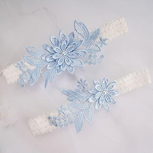 N\C Juego de liguero de novia de 2 piezas, liguero de boda, liguero de boda, liguero de flores de diseño floral para novia cosido a mano perlas de imitación liguero para novia