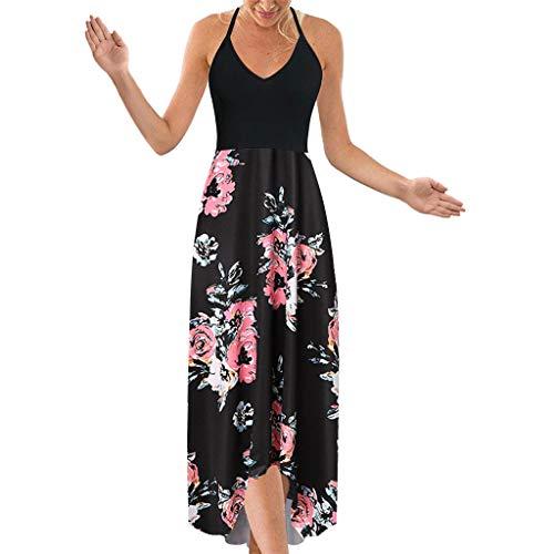 Shinehua Lange jurk dames bloemen maxi jurk zonder mouwen V-hals jurken zomerjurken sexy halterjurk avondjurk strandjurk party chiffon cocktailjurk elegant knielang feestelijk S roze