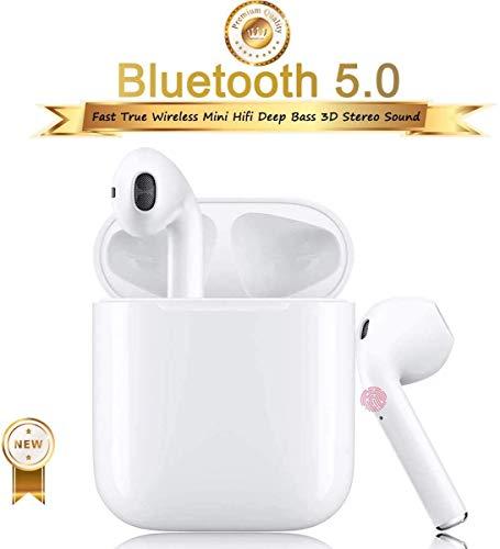 Auricolare Bluetooth Senza Fili, Cuffie Wireless Stereo 3D with IPX5 Impermeabile, Accoppiamento Automatico Per Chiamate Binaurali, Adatto Compatibile con iPhone/Android/Apple AirPods