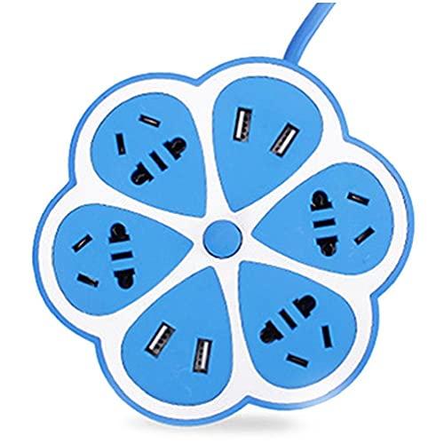 FeelMeet Multifuncional del zócalo de energía en Forma de limón sobretensiones Protegida Regleta con 4 Puertos USB 4 Multi usos Extensión Internacional Jacks cordón para Home Office 1,8 Metros Azul