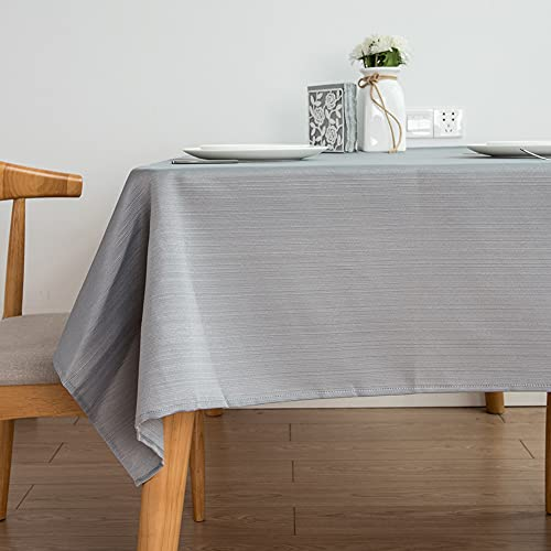 Kokomimi - Mantel de mesa redondo, 100 cm, rectangular, poliéster gris, antimanchas, para mesa de comedor, picnic y fiesta