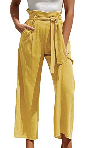 ECOWISH Damen Hosen Lang Weites Bein Sommerhose Gummibund Freizeithose mit Taschen und Gürtel Gelb M