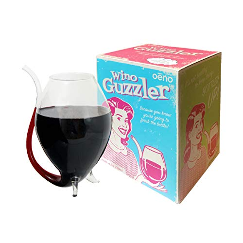 small Oenophilia Wino Guzzler – Oversized wine glass with a wine straw