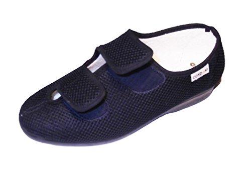 Zapatilla de Calle/De Mujer/Ancho Especial/Cosdam/Doble Cierre fácil/Suela de Goma/Cuña 3 cms/Color: Azul/Talla 38