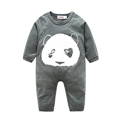 Mornyray Unisexe Bébé Printemps Automne Coton À Manches Longues Panda Face Outfit Barboteuse Size 95 (Gray)