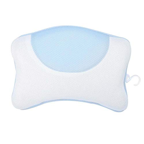 Yinhing Almohada Bañera, Almohada de baño de Malla Suave Alivio de la Fatiga Relajación Inicio SPA Bañera Almohada con Ventosa para Cabeza, Hombro SPA de Lujo(Azul)