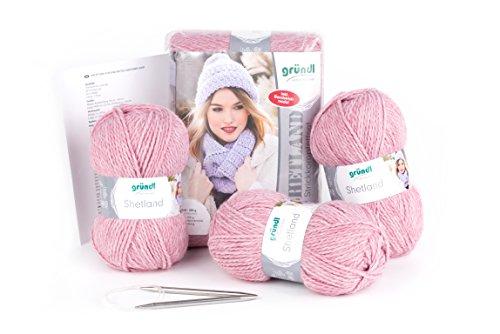 Gründl Strickkomplettset Shetland, 80% Polyacryl, 20% Wolle, rose melange, 30 x 20 x 8 cm