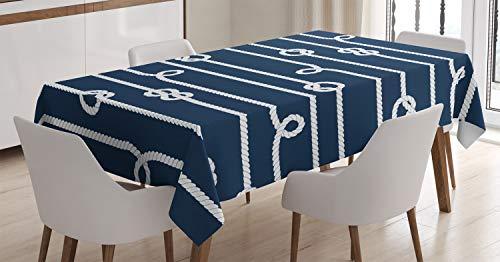ABAKUHAUS Azul Marino Mantele, Marinero Nudos Marineros, Fácil de Limpiar Colores Firmes y Durables Lavable Personalizado, 140 x 170 cm, Azul y Blanco