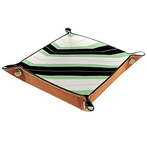 LXYDD Bandeja de Valet de Cuero Multiusos Caja de Almacenamiento Organizador de bandejas Se Utiliza para almacenar pequeños Accesorios,Verde Negro Blanco