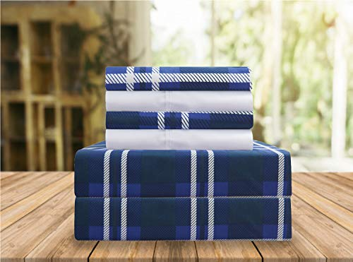 Elegant Comfort Luxury Soft Bed Sheets Plaid Pattern 1500 Thread Count Percale Egyptian Quality Softness Wrinkle and Fade Resistant (6-Piece) Bedding Set, King, Navy Blue