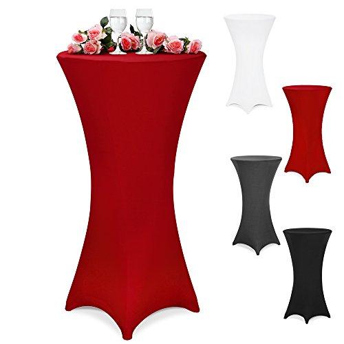DEUBA Stehtischhusse Tischhusse Husse für Stehtisch Bistrotisch Tisch 3 verschiedene Größen Ø 60/70/80 cm - Farbauswahl / (Ø 80 cm, bordeaux-rot)