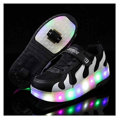 WXBXIEJIA Unisex Niños LED Luz Parpadea Deportes al Aire Libre Luminosas Skateboard SneakerAutomáticamente Retráctiles Zapatos deRoller Zapatillas de Skate con Ruedas Doblesblack and white-28
