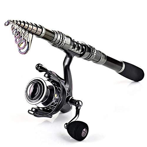 LKYBOA Caña de Pescar giratoria de Fibra de Carbono y Carrete de Pesca Combo Kit de Carrete Giratorio de caña de Pescar telescópica (Size : 3.0M and XY3000)