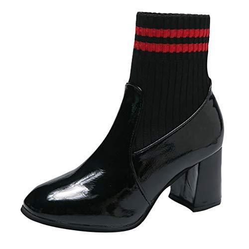 TTLOVE Stiefel Leder&Stricken-Socken Stiefeletten Blockabsatz Damen Winter Gemischte-Farben Boots...