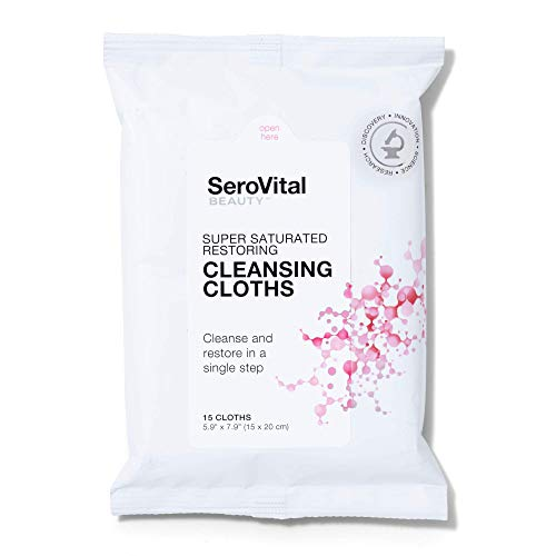 SeroVital Super Saturated Restoring Cleansing Cloths - Cleansing Face Wipes with Green Tea and Hyaluronic Acid - Makeup Remover Wipes - 1 Pack 15 Ct