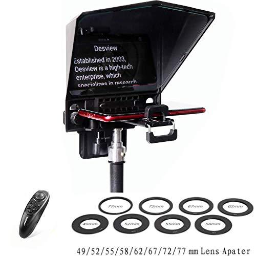 Bestview T2 Teleprompter Smartphones Tablet DSLR-Kameras Live-Übertragung Interview Prompter mit Fernbedienung und 8 Größen Objektivhalterungsringen (aktualisierte Version)